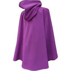 Poncho cape violet avec capuche en softshell doublé de polaire de couleur violet pressionné devant De dos