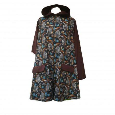 manteau imper renards en softshell imprimé. Capuche bras et rabat des poche de couleur moka