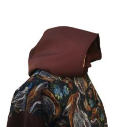 manteau imper renards en softshell imprimé. Capuche bras et rabat des poche de couleur moka Capuche