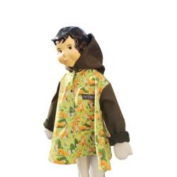 veste pour fille imprimé renard et uni kaki avec capuche pressions Augustine Metro