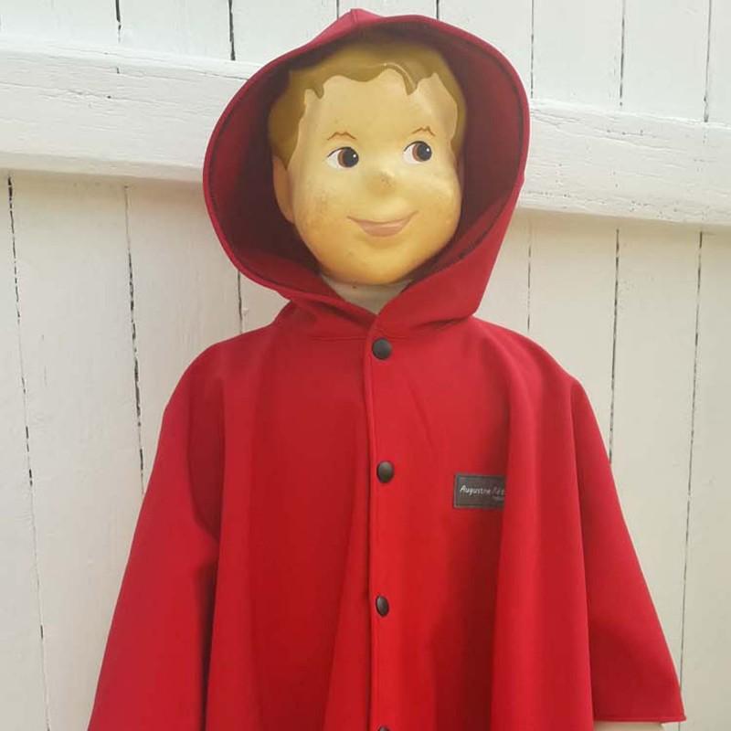Poncho avec capuche pour enfant en softshell  imprimé BURLAT doublé de polaire rouge