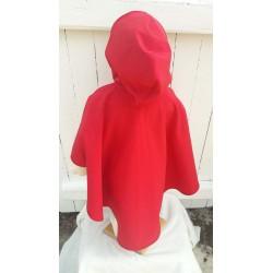 Poncho avec capuche pour enfant en softshell  imprimé BURLAT doublé de polaire rouge De dos
