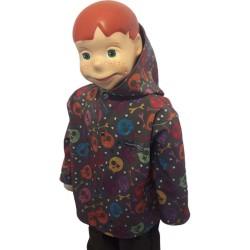 Veste droite avec capuche en softshell imprimé Oscar doublé de polaire de couleur noir pour garçon coupe vent
