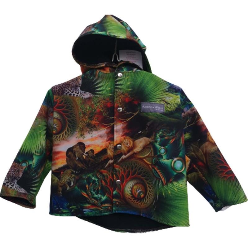 Veste droite avec capuche en softshell imprimé Jungle doublé de polaire de couleur noire pour garçon coupe vent