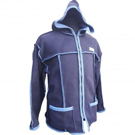 Veste avec une grande capuche pour adulte en polaire double face de bleu marine et bleu infini sur l'envers