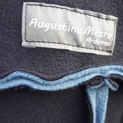 Veste avec une grande capuche pour adulte en polaire double face de bleu marine et bleu infini sur l'envers coutures extérieures