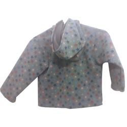 Veste droite avec capuche en softshell imprimé Europe doublé de polaire pour garçon outdoor De dos