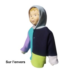Veste Piet avec capuche pour nourrisson montage Sun-Farm en polaire double face Augustine Métro -Sur l'envers -