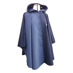 Poncho cape avec capuche  outdoor pour adulte en softshell  Léo Mallet doublé polaire noire de pied