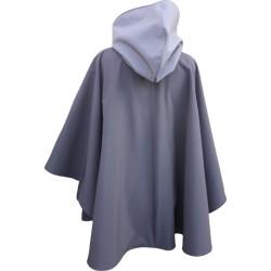 Poncho cape avec capuche  outdoor pour adulte en softshell  Léo Mallet doublé polaire noire De dos