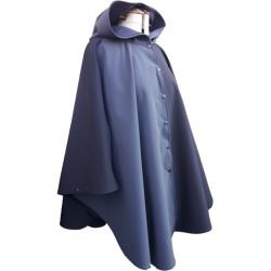 Poncho cape avec capuche  outdoor pour adulte en softshell  Léo Mallet doublé polaire noire de 3/4