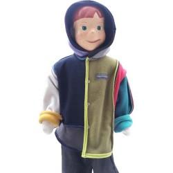 Veste Mondrian enfant avec capuche montage Boogie-Woogie en polaire double face Augustine Métro