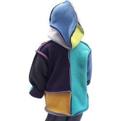 Veste Mondrian enfant avec capuche montage Boogie-Woogie en polaire double face Augustine Métro De dos