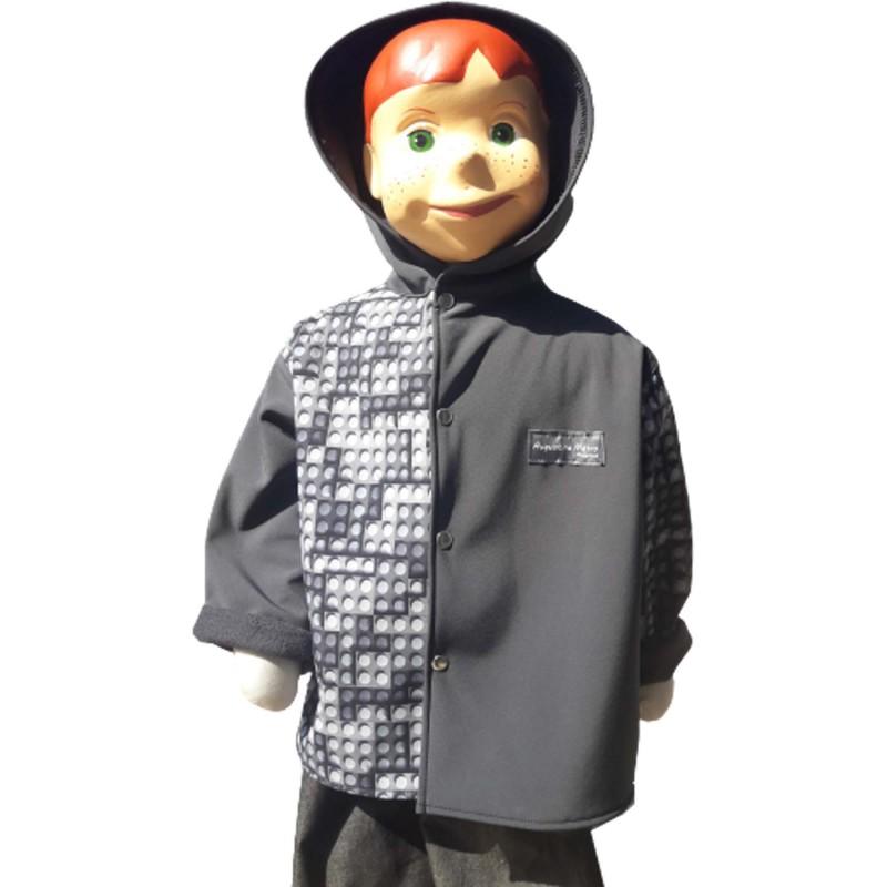 Veste droite avec capuche en softshell légo et gris antharcite pour garçon doublé de polaire de couleur gris anthracite