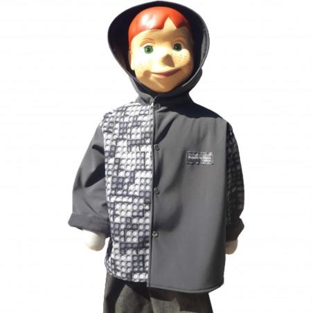 Veste coupe droite avec capuche en softshell lego et gris anthracite pour garçon doublé de polaire de couleur gris anthracite