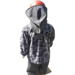 Veste droite avec capuche en softshell lego et gris anthracite pour garçon doublé de polaire de couleur gris anthracite De dos