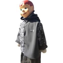 Veste droite avec capuche en softshell lego et gris anthracite pour garçon doublé de polaire de couleur gris anthracite