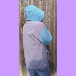 Veste adulte Phil coupe droite en softshell avec capuche doublé de polaire de profil